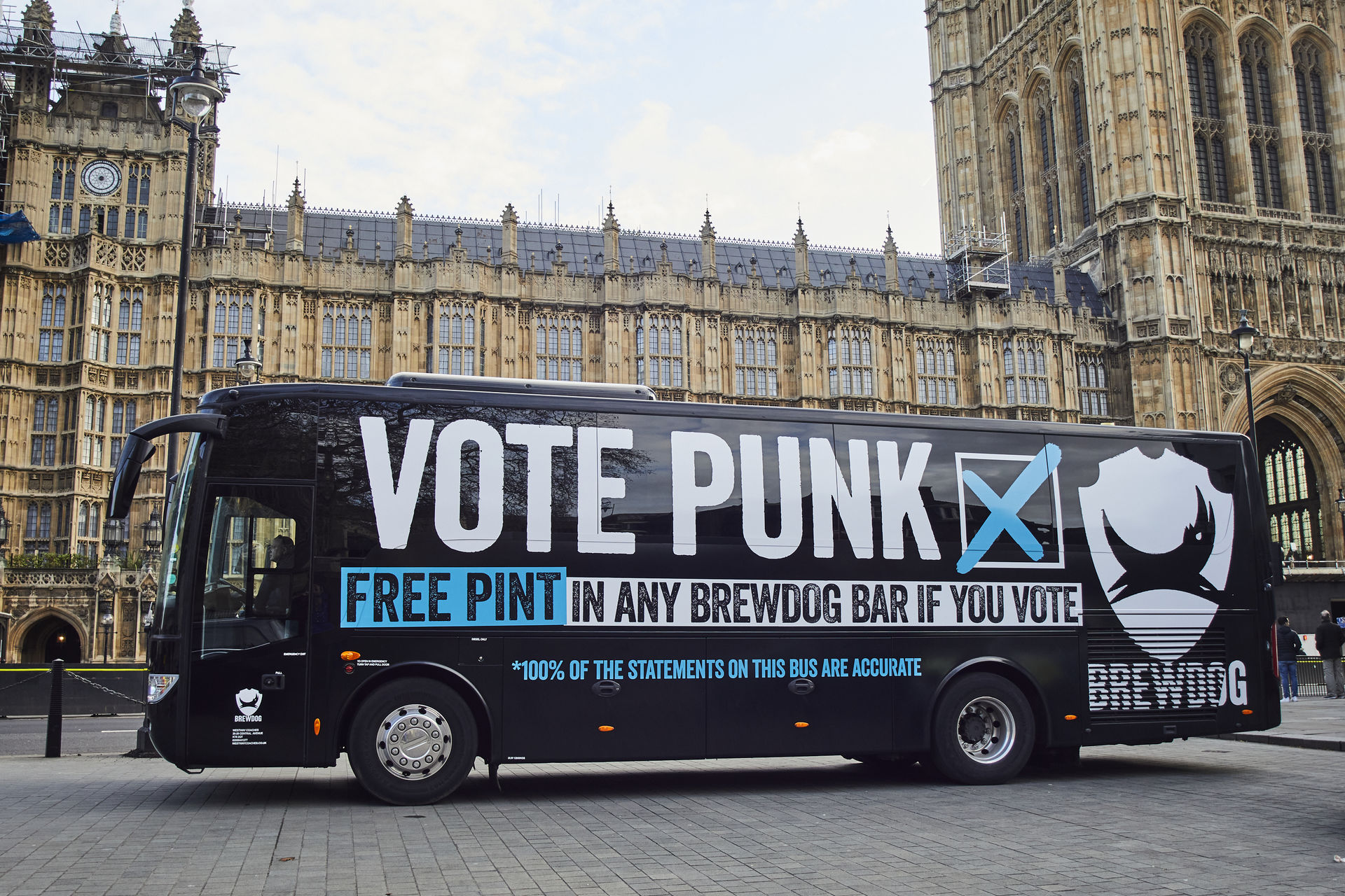 100% of the statements on this bus are accurate: BrewDog parked up outside the Houses of Parliament to highlight their own campaign